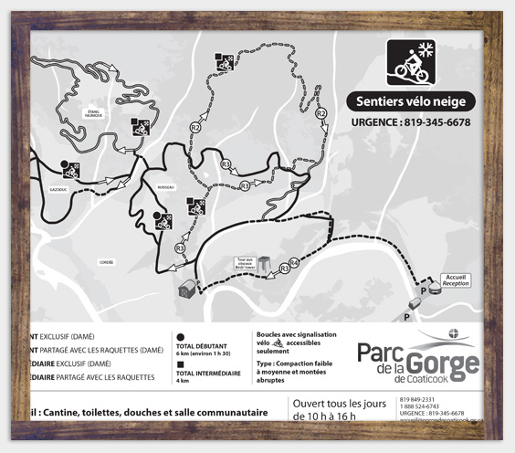 Map - Fatbike - Parc de la Gorge de Coaticook - Winter activity