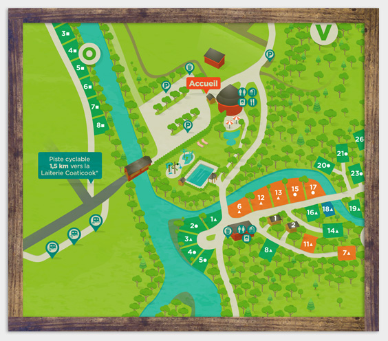Camping map of Parc de la Gorge de Coaticook - Summer lodging