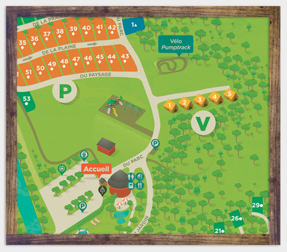 Camping map - Ready-to-camp lodging - Parc de la Gorge de Coaticook