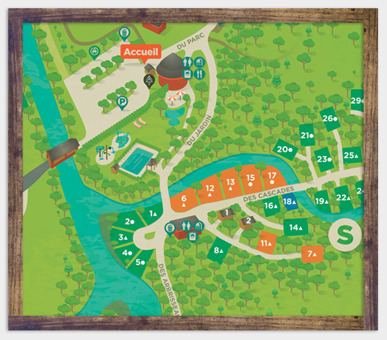 Camping map - Shelter lodging - Parc de la Gorge de Coaticook