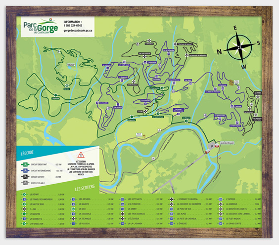 Map - Mountain bike trails - Parc de la Gorge de Coaticook