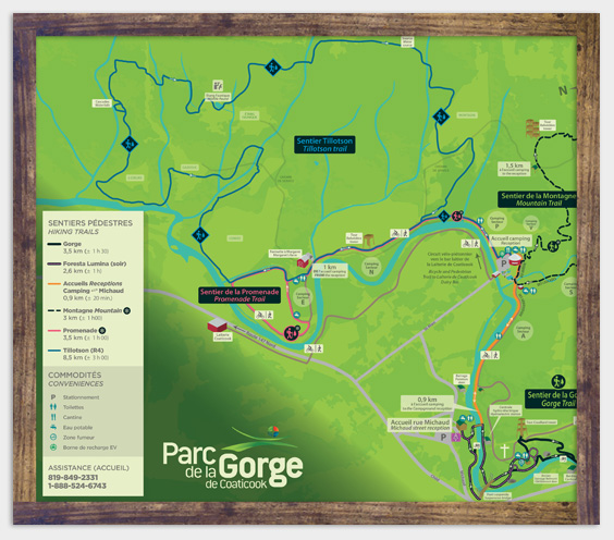 Map - Hiking trails - Parc de la Gorge de Coaticook