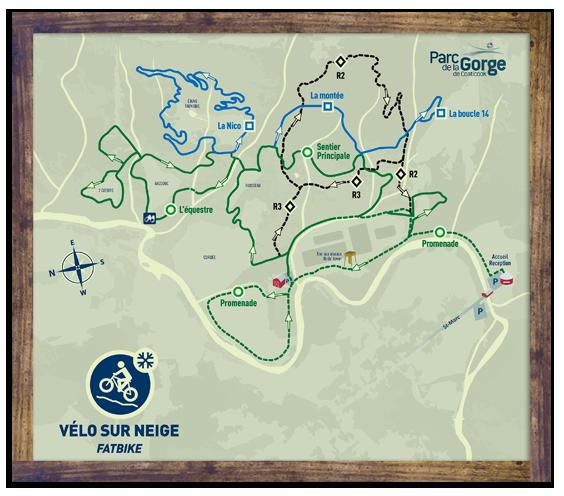 Carte des sentiers - Vélo sur neige (Fatbike) - Parc de la Gorge de Coaticook