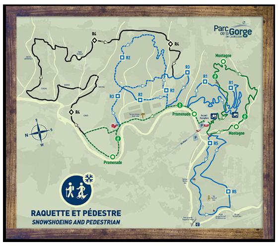 Map - Snowshoeing trails map - Parc de la Gorge de Coaticook - winter activity
