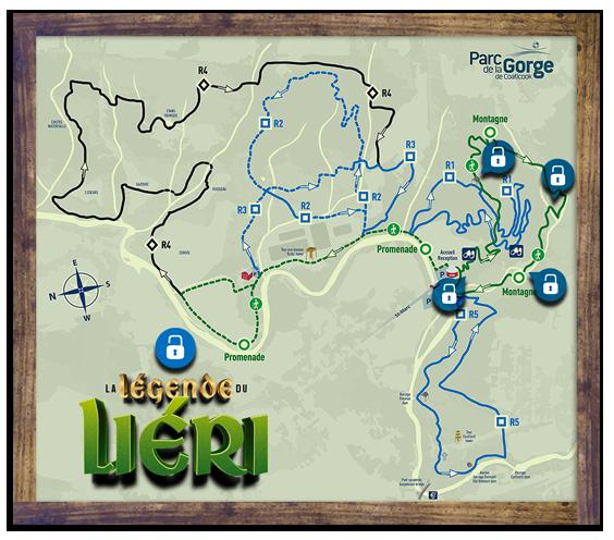 Carte des sentiers - La légende du Liéri - Parc de la Gorge de Coaticook