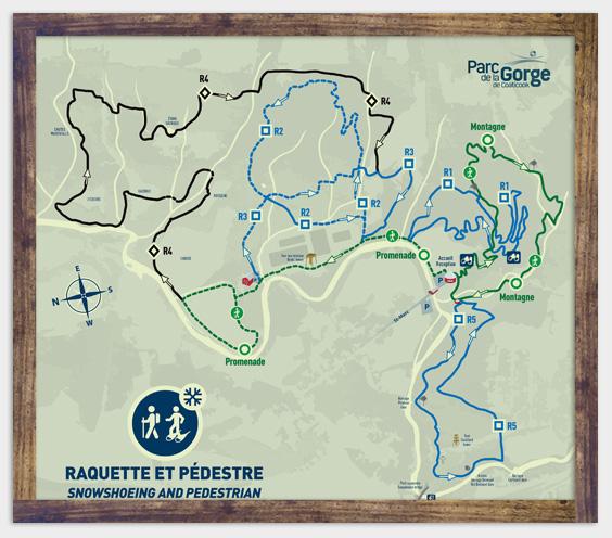 Carte des sentiers - Raquette - Parc de la Gorge de Coaticook