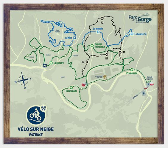 Map - Fatbike - Parc de la Gorge de Coaticook - Winter activity